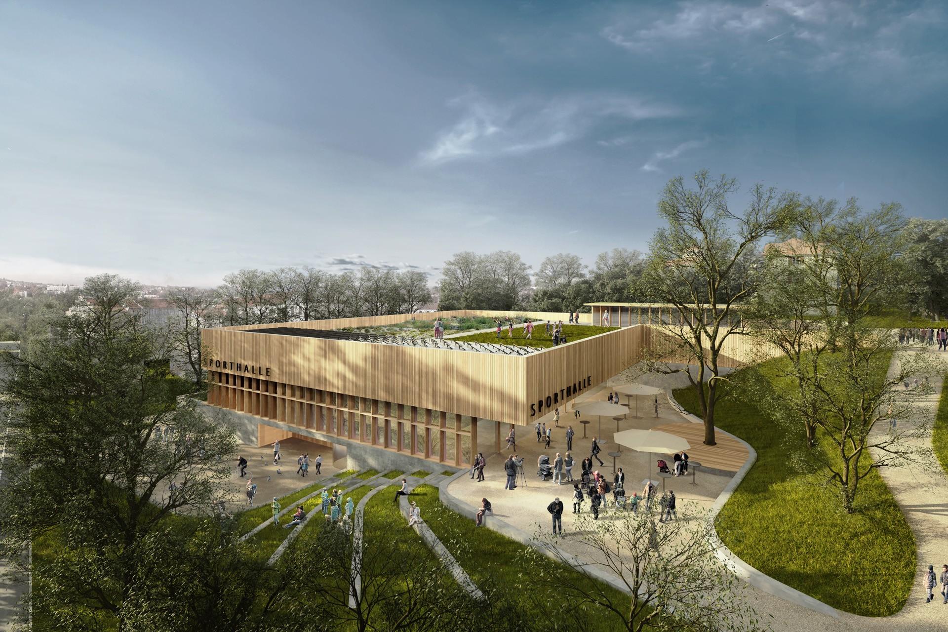 Neubau Dreifachsporthalle mit Parkhaus, Kempten, Hildegardis Gymnasium, Parkhaus